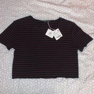 BRAND NWT Zara striped cropped tee